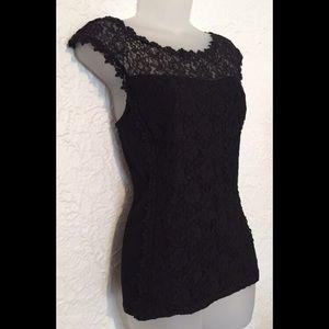 Express lace & cotton stretch top black